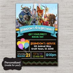 Zootopia Birthday invite,Zootopia invite,JPG file,Invite,Birthday Invite,Zootopia Party,Zootopia,Judy,Nick,Flash,DPP250