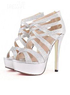 Amazing Silver Strappy  Open Toe Stiletto Heel Sandals