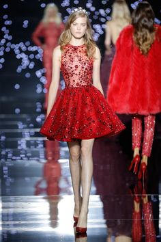 zuhair murad short embroidered red dress
