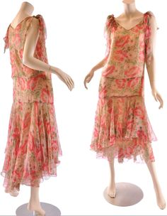 Dress ca. late 1920s. Several layers of silk chiffon, including slip. Drop waist with inset, V neckline front & back. Maire McLeod/Ruby Lane
