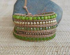 Green & Gold Beaded Leather Wrap Bracelet/5 Wrap Bracelet/New…