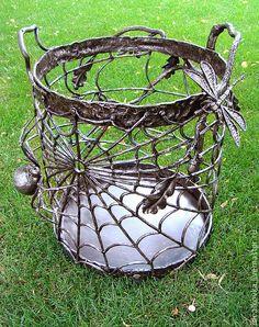 Купить дровница-корзина для камина ДУБОВЫЕ ВЕТВИ - дровница, каминные принадлежности, для камина, каминные наборы