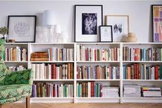 A row of IKEA bookcases lines a wall. On top is framed art and lamps. Billy bookcase: - Instead of a buffet in the dining room? diy home decor,diy,diy crafts,diy room decor,diy headboard Libreria Billy Ikea, Living Room Inspiration, Interior Inspiration, Bookshelf Inspiration, Ikea Inspiration, Ikea Billy Bookcase, Low Bookshelves, Book Shelves, Long Low Bookcase