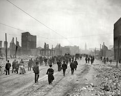 """""""Market Street toward ferry."""" San Francisco after the earthquake and fire of April 18, 1906."""