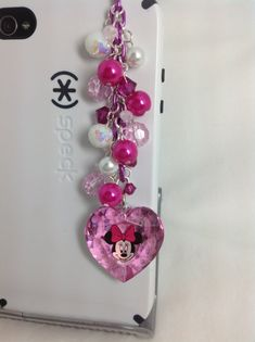 Minnie Mouse Heart cell phone charm, dust plug charm, phone charm,dust plug, headphone jack charm ($15.00 USD)