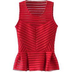 Choies Red Sleeveless Hollow Stripe Peplum Blouse ($24) ❤ liked on Polyvore featuring tops, blouses, shirts, red, striped blouse, sleeveless shirts, red shirt, peplum tops y red peplum shirt
