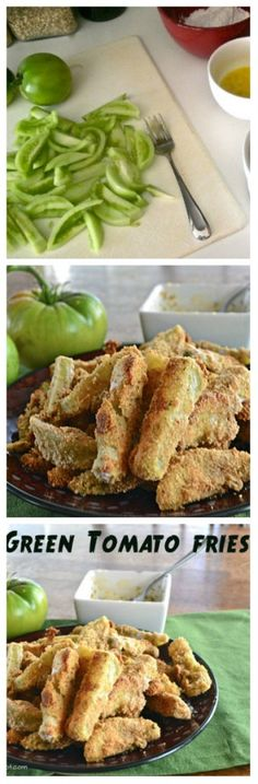 Baked Green Tomato Fries. Sprouted flour and my own seasonings.