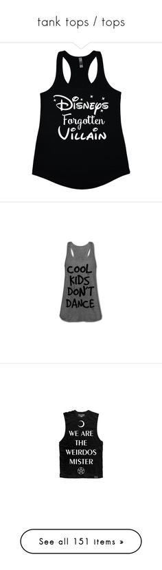 """""""tank tops / tops"""" by horror-hottie ❤ liked on Polyvore featuring tops, shirts, disney, tank tops, black, women's clothing, jersey shirts, racerback tank top, crew shirt and v neck tank top"""