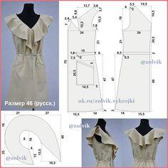 #платья_zolvik ПЛАТЬЕ С ПЕЛЕРИНОЙ-ВОЛАНОМ Размер на ОГ=92 см #SewingPatterns #sewing #выкройки #выкройка #шитье #крой #СвоимиРуками…