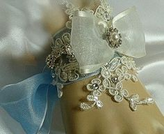 Rachel ..  Lace, crystal and pearl bridal cuff .. Wedding Bracelet with something blue .. FREE shipping worldwide by TessHarrissDesigns on Etsy