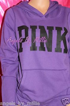 Victoria Secret PINK Hoodie Medium M Neon Blue Iridescent Foil ...