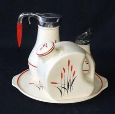 Universal Potteries Inc. Cambridge Ohio  Coffee pot, creamer and water jug on tray