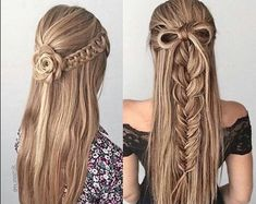Image about cute in Hair by Hushed I.T on We Heart It Image about cute in Hair by Hushed I.T on We Heart It Down Hairstyles For Long Hair, Fancy Hairstyles, Braids For Long Hair, Girl Hairstyles, Braided Hairstyles, Wedding Hairstyles, Hairdos, Pageant Hair, Cool Braids