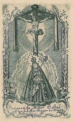 Schmerzhaften Mutter Gottes  An engraving of the miraculous image of the Mother of Sorrows in the Herzogspitalkirche in Munich, Germany.