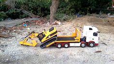 Caterpillar gravemaskiner og Tamiya Scania highline RC TRUCK