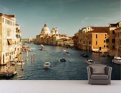 Italy Canal Landscape Wall Mural Decal Wall by MillerGraphicsVA