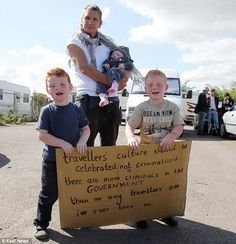Protest: A traveller family demonstrates against their imminent eviction Family Travel, Britain, Family Trips, Family Vacations, Family Destinations