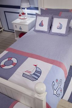 Sail to far away lands, these beautiful Nautical duvet sets are made of soft, luxurious 200 Thread Count, cotton, embroidered with applique. Each set includes a duvet cover and a pillowcase. Applique Quilts, Patchwork Quilting, Nautical Quilt, Baby Sheets, Baby Boy Quilts, Bed Covers, Baby Sewing, Bedding Sets, Kids And Parenting