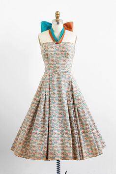 vintage 1950s dress / 50s dress / Blue and Tan by RococoVintage, $424.00