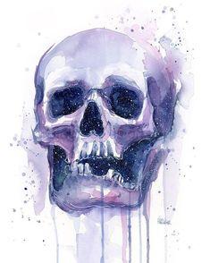 Tattoo watercolor skull products 68 New Ideas Fall Canvas Painting, Skull Painting, Sketch Painting, Skull Wall Art, Skull Artwork, Pen And Watercolor, Watercolor Tattoo, Colorful Skulls, Skull Print