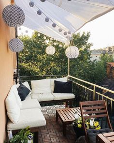 How to Make the Most of a Tiny Balcony - Apartment balcony decorating - Small Balcony Decor, Small Balcony Garden, Small Balcony Design, Outdoor Balcony, Outdoor Decor, Balcony Ideas, Small Balcony Furniture, Small Terrace, Apartment Balcony Decorating