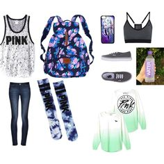 pink victoria secret by highpoint on Polyvore featuring DL1961 Premium Denim, NIKE, Victoria's Secret PINK, Vans, Victoria's Secret and CellPowerCases