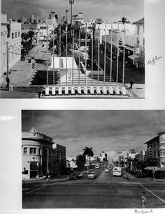 Two views of Lincoln Road - Miami Beach, Florida: The two views in the photograph show Lincoln Road before and after being converted into a pedestrian mall in the 1960s
