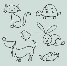 Illustration about Hand drawn cartoon pets, illustration. Illustration of rabbit, drawing, clip - 18441011 Doodle Drawings, Animal Drawings, Easy Drawings, Doodle Art, Animal Sketches, Drawing For Kids, Line Drawing, Painting & Drawing, Drawing Tips