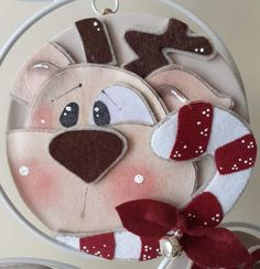 Reindeer Face, Santa Face, Felt Crafts, Christmas Crafts, Christmas Decorations, Christmas Time, Holiday, Country Crafts, Fabric Paper