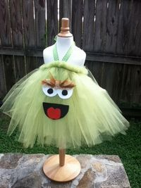 Oscar the Grouch Costume Tutu Dress for halloween or dress up playtime
