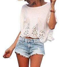 ROPALIA Womens Short Sleeve Top Casual Loose Chiffon T-shirt O-neck Crops Blouse