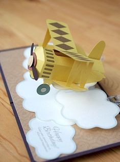 pop-up card [Yellow Biplane ] original handmade by Kagisippo. Paper Pop, Diy Paper, Paper Crafts, Pop Up Art, Interactive Cards, Card Tutorials, Kids Cards, Homemade Cards, Envelopes