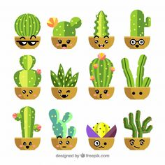 Discover thousands of copyright-free vectors. Graphic resources for personal and commercial use. Thousands of new files uploaded daily. Watercolor Leaves, Watercolor Cactus, Kawaii Drawings, Easy Drawings, Banner Template, Cactus Flower, Flower Pots, Illustration Cactus, Cactus Backgrounds