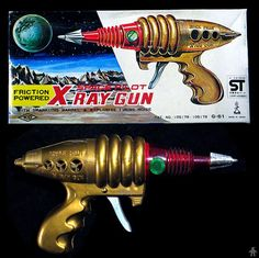 Space Guns - SPACE PILOT X RAY GUN - YOSHIYA TAIYO - JAPAN - ALPHADROME ROBOT AND SPACE TOY DATABASE Vintage Space, Vintage Toys, Children's Comics, Diorama, Retro Rocket, Space Toys, Sci Fi Weapons, Steampunk Lamp, Metal Toys