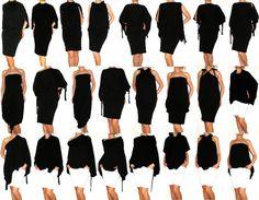 Black Convertible Multi way dress in jersey more than by Loretari