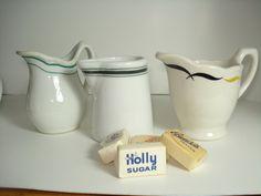 Vintage Creamers Restaurantware Syrup Coffee Creamer Pitchers Mixed Set of 3 / hot fudge. $23.00, via Etsy.