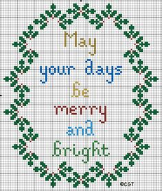Merry and Bright Christmas Cross Stitch Pattern