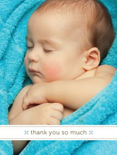 "Blue Baby Thank You Card with photo - ""Little Sweetie"" - Designed by Lauren DiColli Hooke"