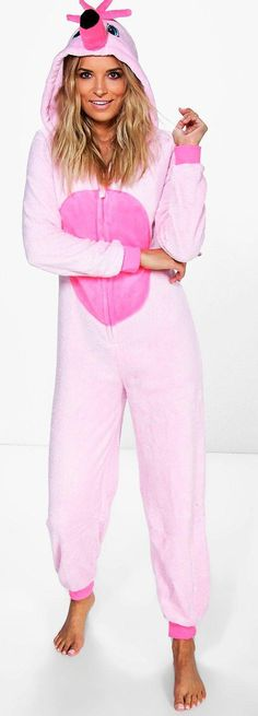 Neve Flamingo Hooded Fleece Onesie - Loungewear  - Street Style, Fashion Looks And Outfit Ideas For Spring And Summer 2017