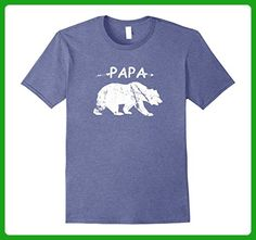 Mens Best Papa Bear T-shirt Funny Gift Father's Day Tee Men Emoji Large Heather Blue - Holiday and seasonal shirts (*Amazon Partner-Link)
