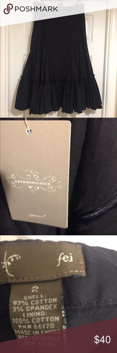 NWT Anthropologie fei Black Ruffle Skirt NWT Black ruffle side zip skirt by Anthropologie Anthropologie Skirts A-Line or Full