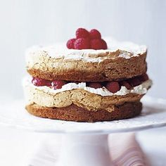 Absolutely irresistible - we love the combo of meringue, soft sponge and tart fruit in this raspberry and meringue cake recipe