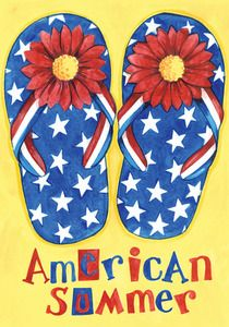 720b4fdb1 Get your patio ready for summer with the Toland Home Garden American Summer  Flag. A pair of patriotic sandals and American Summer script complete this  ...
