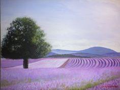 Lavender farm, Bridestowe, Tasmania. Acrylic on canvas