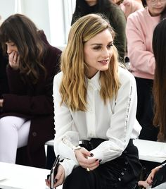 Olivia Palermo poses front row at the Delpozo Runway Show during New York Fashion Week at Pier 59 Studios on February 15 2017 in New York City