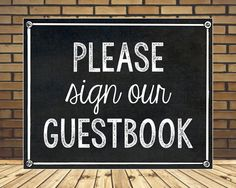 Please Sign Our Guestbook Sign // DIY Wedding // Instant Download by MsThirdGrade on Etsy