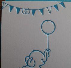 Letterpress _ geboortekaartenonline _ Gmund _ geboortekaartje _ birth announcement _ olifantje_ ballon _ slingers _ blauw _ blue