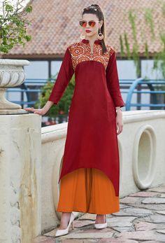 106d6122d7 Readymade Maroon Khadi Cotton Casual Kurti #kurti #ladiestops #cottonkurti  #kurtionline #longkurti. Nikvik