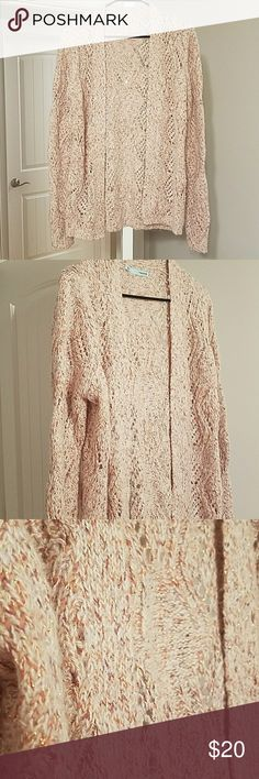 Cardigan by Maurices NWOT! Super pretty cardigan with golden thread accents. Colors are cream, rust and washed orange. Open stitched look is beautiful! Maurices Sweaters Cardigans