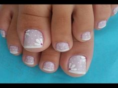 LINDAS UNHAS DECORADAS PARA OS PÉS - YouTube Cute Pedicures, Mani Pedi, Manicure And Pedicure, Pretty Toe Nails, Pretty Toes, Pedicure Designs, Toe Nail Designs, French Gel, Flower Nails